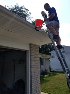 Ladder Cleaning Gutters
